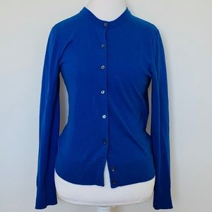 J. Crew bright blue button up cardigan size L